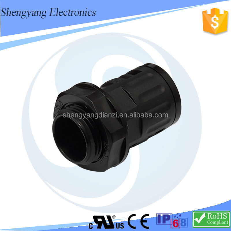 Free Sample Low Price SY Flexible waterproof plastic quick connector nylon conduit gland rubber flexible tubing connector