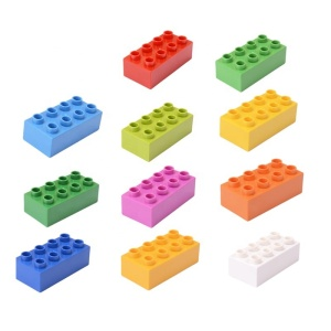10pcs/lot High Large Building Blocks Spare Parts 2X4 higher Big Size Block 8 Dots Higher Brick compatible with lego Block Toys