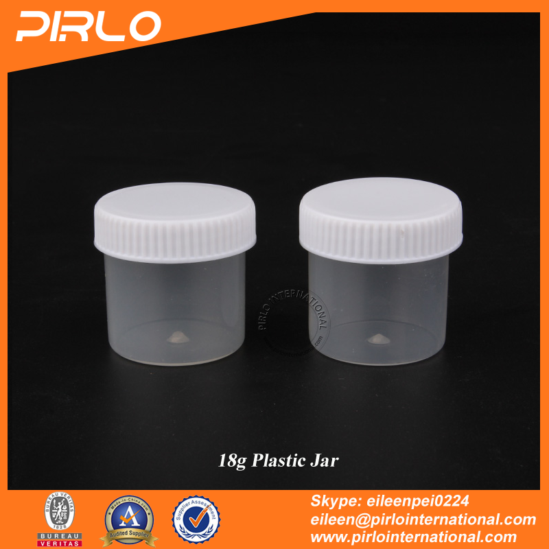18g PP plastic jar with screw cap for pills medicine cylinder round cosmetic jar personal care powder packing pp plastic jar