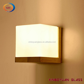 Frosted Square Glass Wall Lamp Shades With Wooden Base - Buy Wall Mount  Lamp Shades,Decorative Glass Lamp Shade,Frosted Glass Wall Lamp Product on