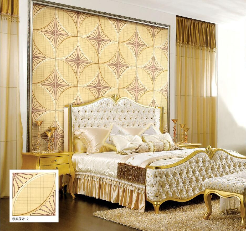 Gold Wall Paneling : Gold color european style grid d leather wall paneling