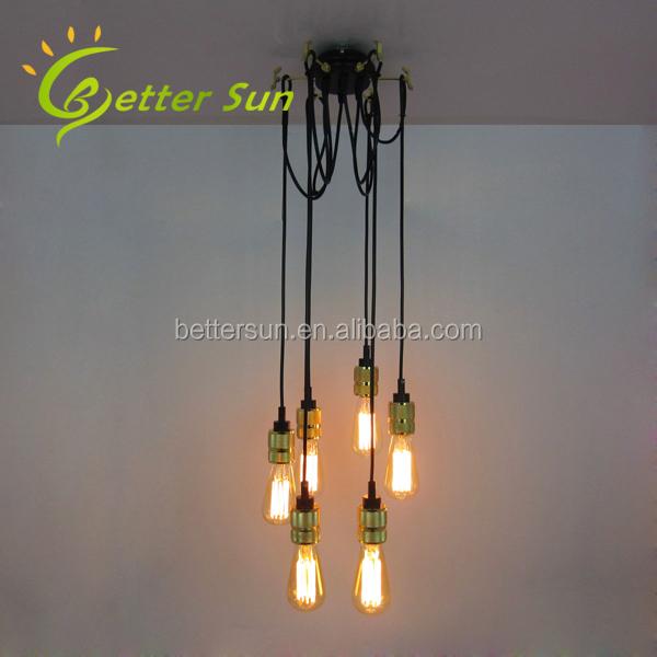 HOT KOOP Industriële Vintage Retro E27 Edison Lamp Hanglamp Met 6 Lampen