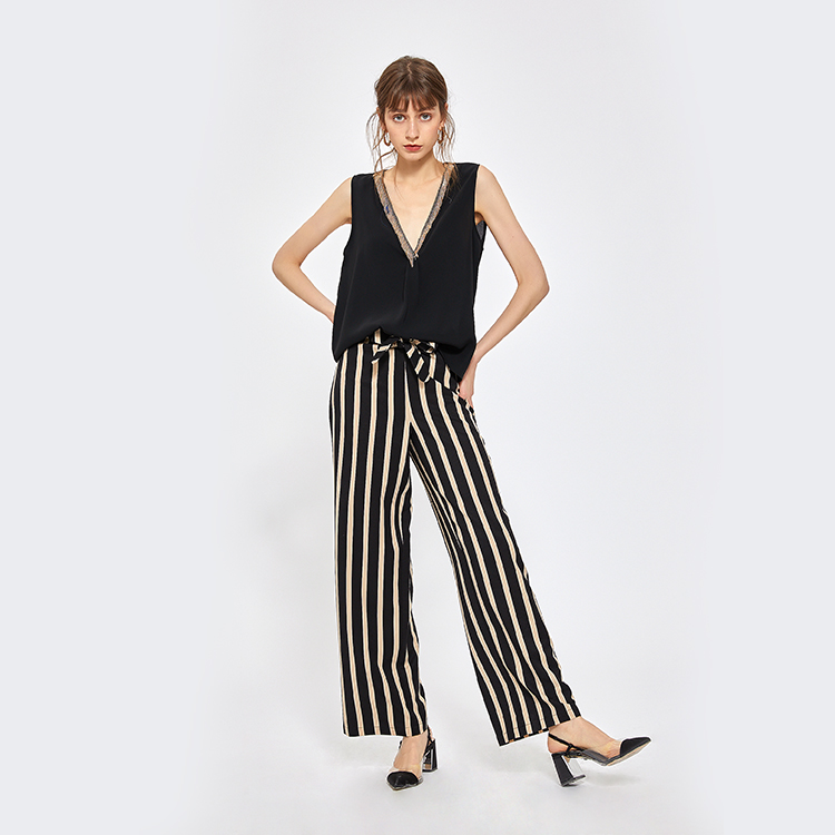 Fashion odm polyester plus size bell-bottomstriped losse vrouwen hoge taille casual broek