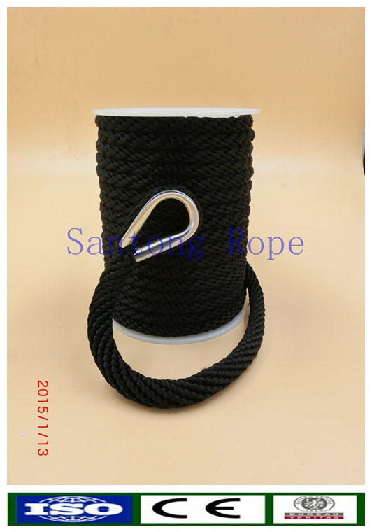 solid braided mooring anchor rope with snap clips
