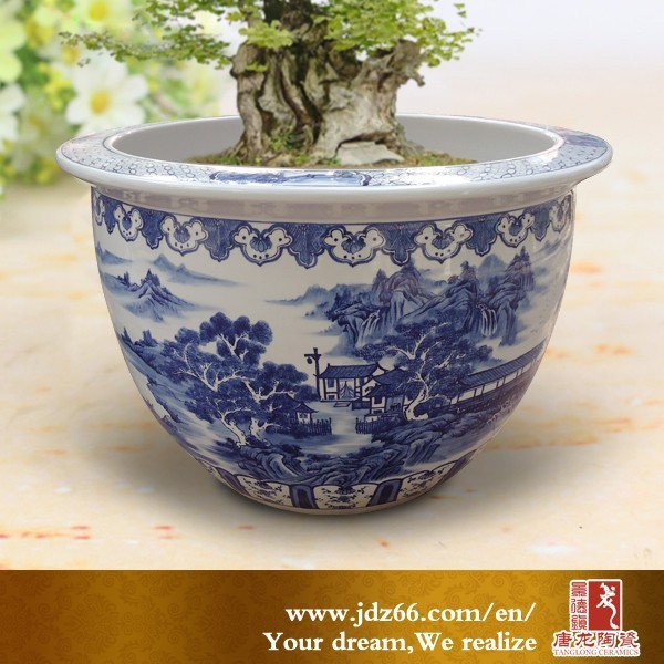 Amazing Blue And White Antique Large Garden Pots In Chinese Design