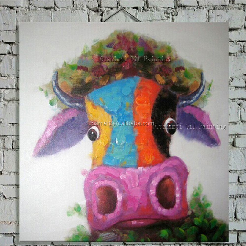 Free Shipping Hand-painted Funny Cow With Grass Hat Oil Painting On Canvas Hands Abstract Big Nostrils Funny Cow Oil Paintings