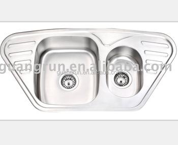 Stainless Steel Butterfly Corner Kitchen Sink With Drainboard Gr 602 Buy Stainless Steel Kitchen Sink With Drainer Household Trough 1 5m Stainless