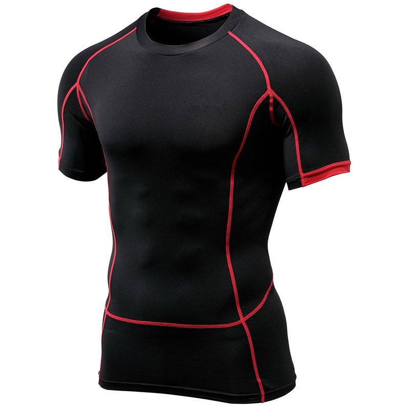 OEM Mens Fitness Korte Mouw T shirts Quick Dry Compressie Baselayer