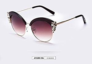 AOFLY Sunglasses Women Cat Eye Sunglasses Half Frame Glasses Jewelry Glasses Flower Decoration European Style oculos de so