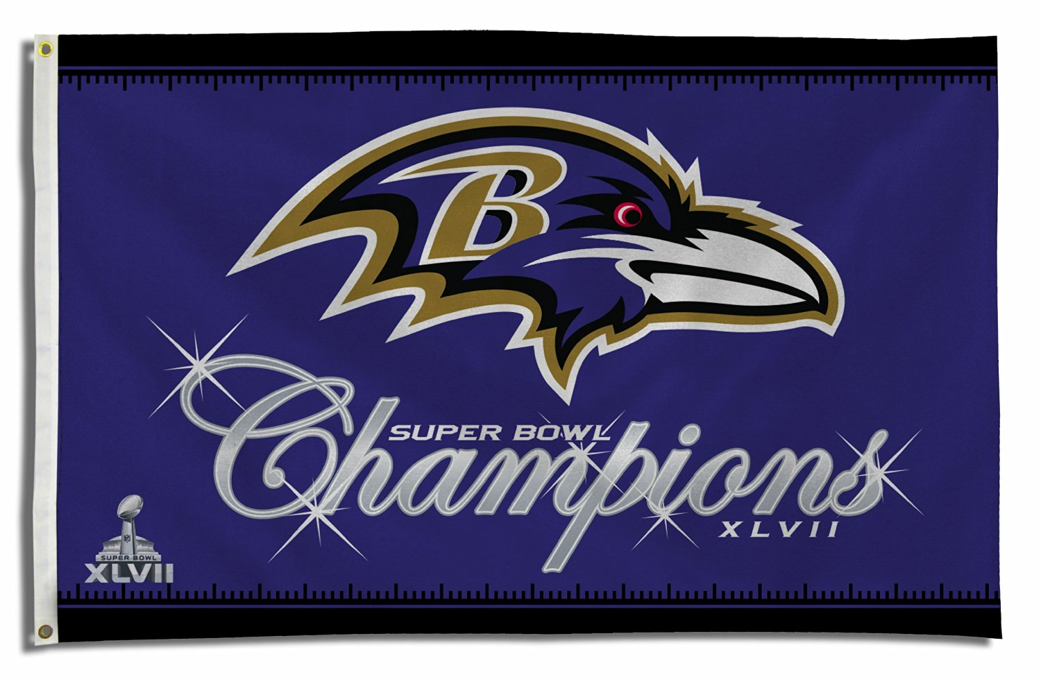 NFL Baltimore Ravens Super Bowl XLVII Champs 3-Foot by 5-Foot Banner Flag