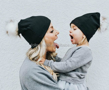 Mom and Baby Matching Knitted Hats Parent-child cap Warm Crochet Beanie Hat  Winter Mink 41d67775333