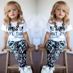 alibaba Letter Printing white T-shirt + pattern trousers set 2pcs summer outfits for girls fashion wear online shopping