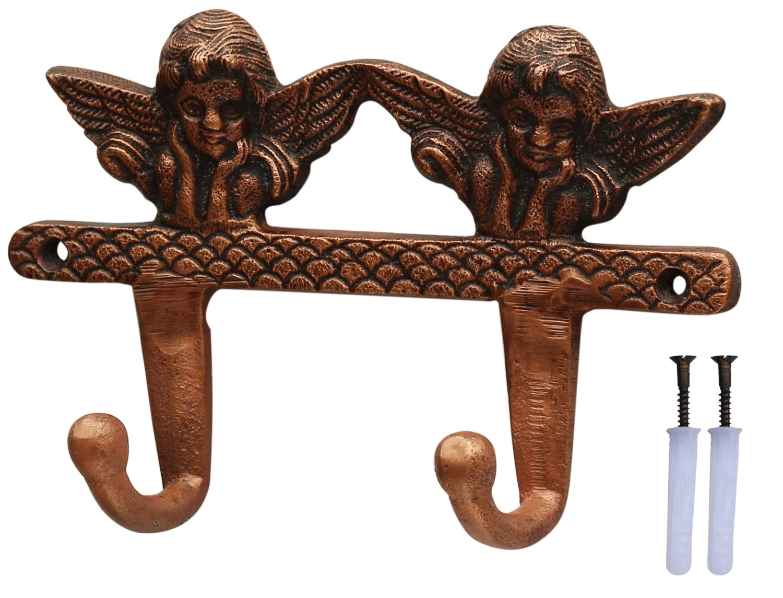 SouvNear Double Cherubs Hooks - 7.5 Inches Vintage Victorian Wall Mounted Hook - Heavy Duty Metal Hook/Hanger for Hanging Keys, Coat, Hat, Umbrella - Wall Decorations
