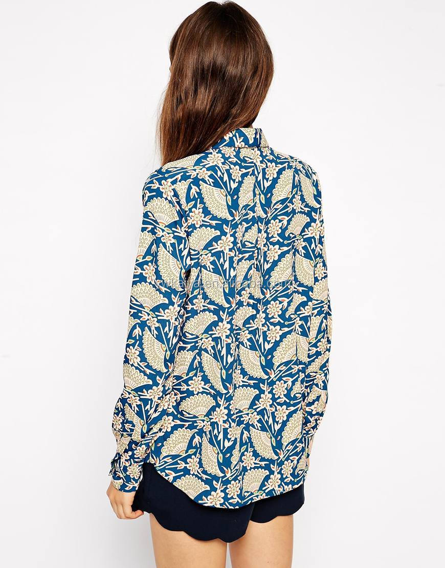 Kaiya Ladies Long Sleeve Art Deco Print Blouse Latest Design Girls ...