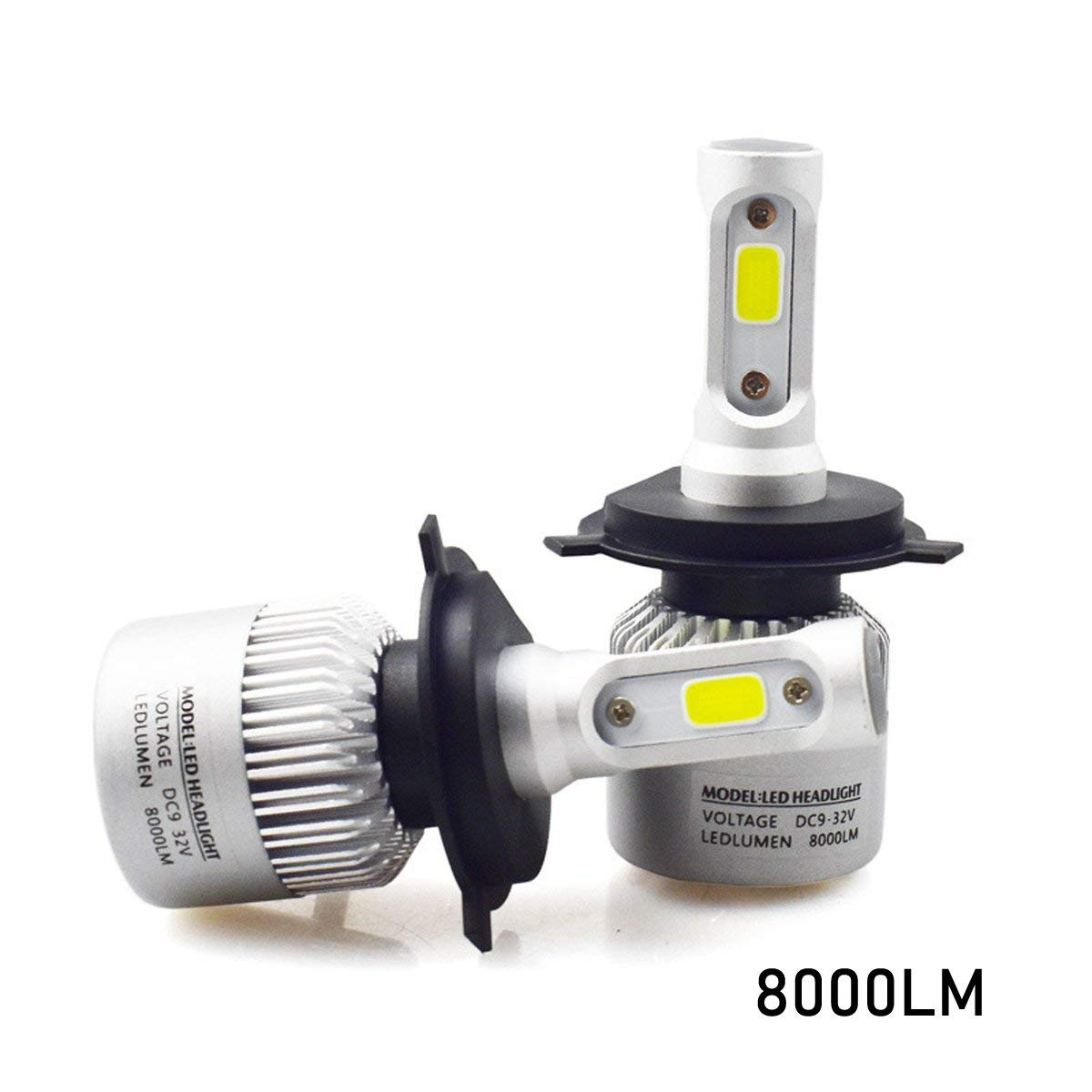 ZEZI 8000lm Xtremely Super Bright 6500K Xenon White High Power COB Mini H11 H8 H9 H11LL H8LL LED Headlight Conversion Kits Bulbs for Replacing Halogen Headlamp