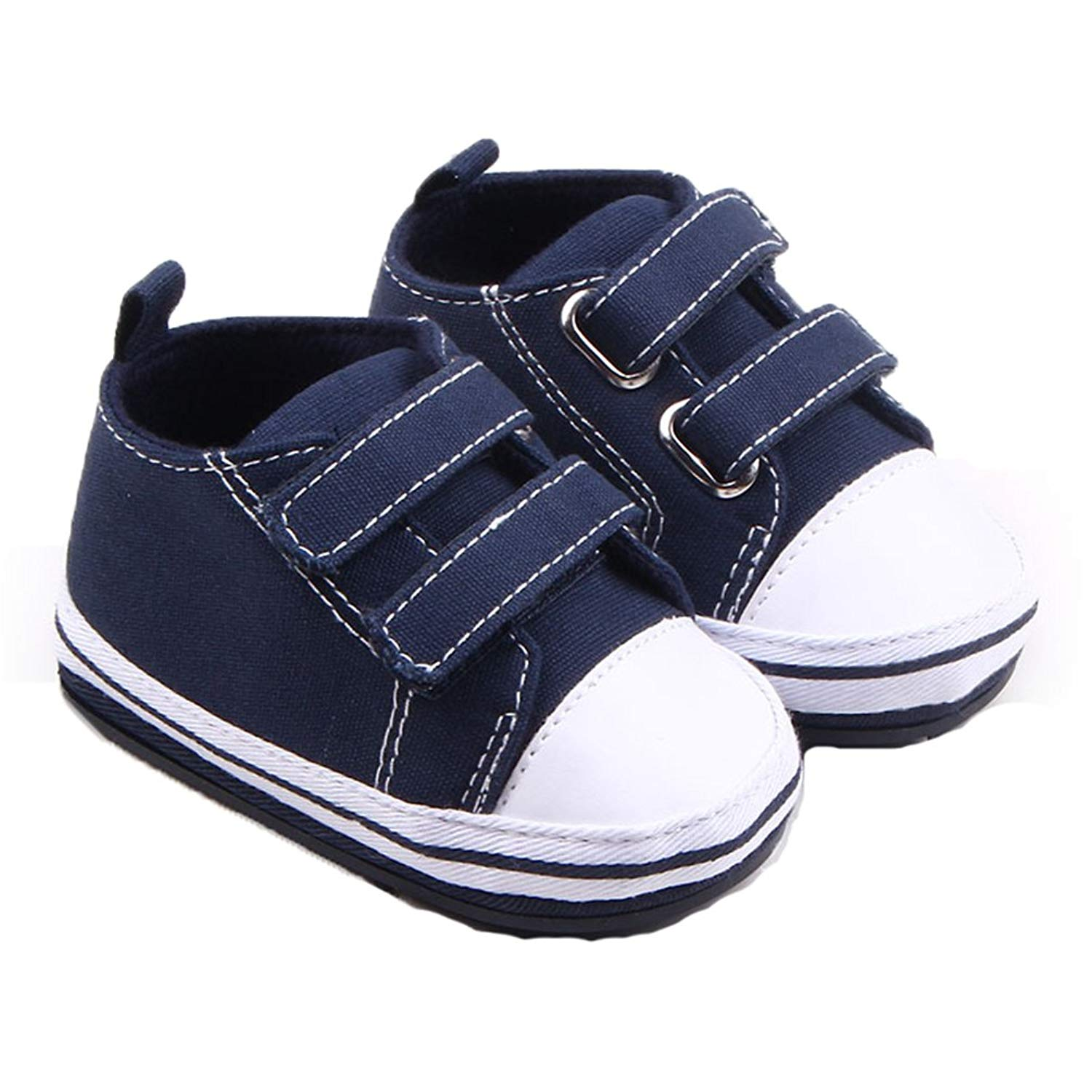 Neband 2 Straps Canvas Sneaker, Newborn Baby Anti-Skid Infant Prewalker Toddler Trainer Infant Prewalker