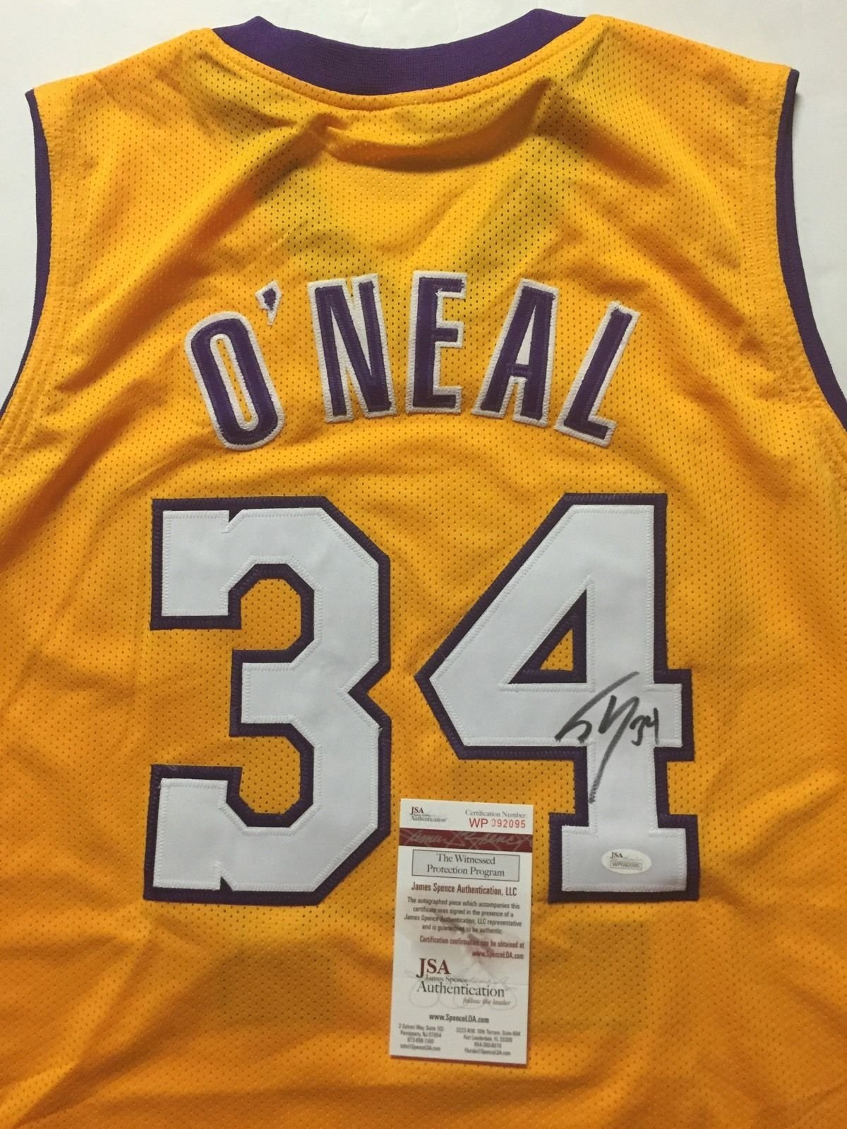 dc78f6749a5 Autographed/Signed Shaquille Shaq O'Neal Los Angeles LA Yellow Basketball  Jersey JSA COA