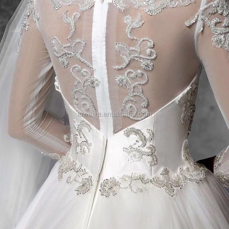 c1f06370b707a جديد الموضة ريال صورة طويلة الأكمام الكرة ثوب الدانتيل ل مطرز فساتين زفاف  في دبي