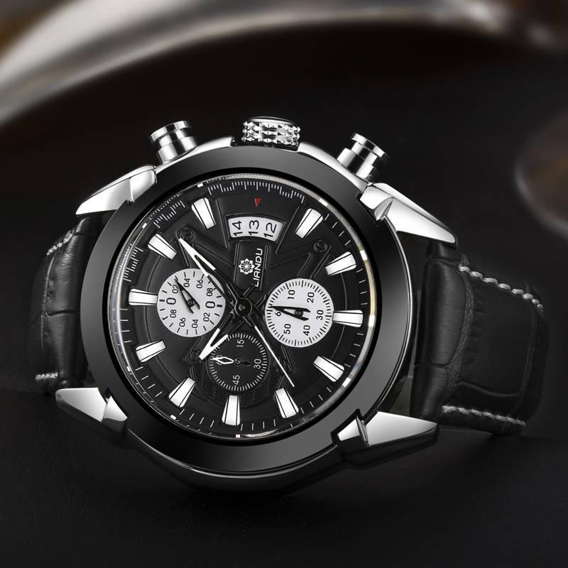 449b315ed77 Relogio masculino LIANDU 6019 Função Cronógrafo Mens Relógios de Couro  Genuíno de Luxo Mens relógios de