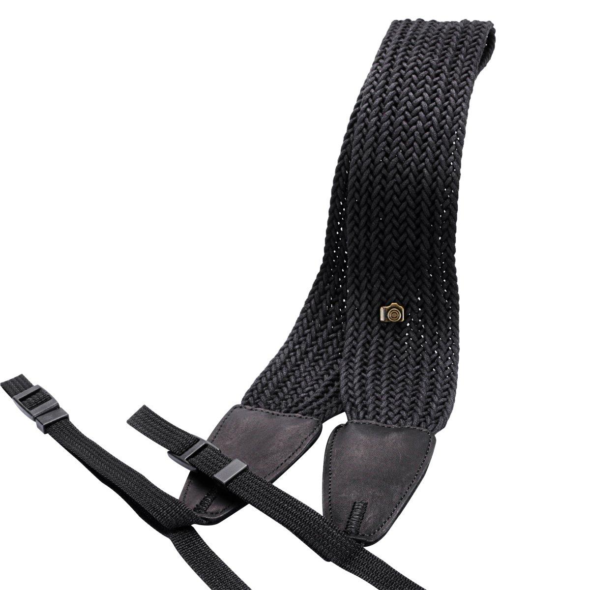 Eggsnow Camera Shoulder Neck Strap Knit Broaden Universal Camera Belt Strap for Women Men All DSLR SLR Nikon Canon Sony Olympus Pentax Samsung-Black