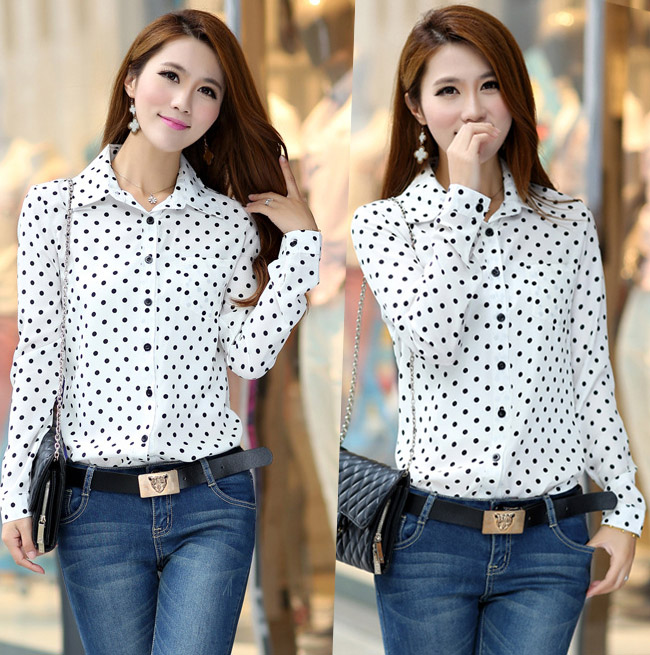 cfc3202c965c8 Brand New plus size womens blouses summer Women Shirt Polka Dots Vintage  Blouse Long Sleeve free shipping
