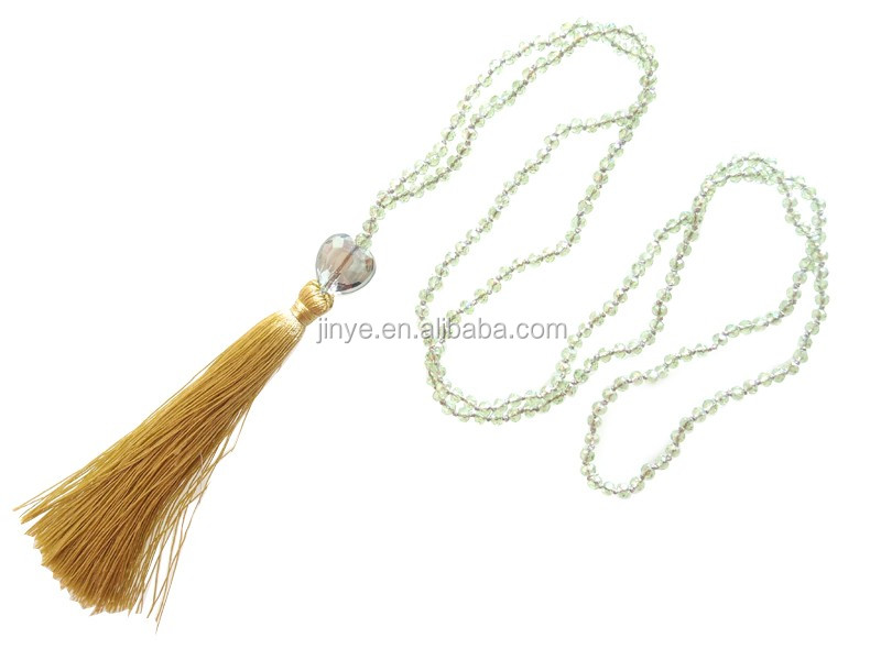Fashion Boho Oliver Green Crystal Beaded Tassel Necklace