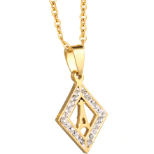 Wholesale Steel Custom Chain Crystal Fashion Jewellery 18K Jewelry Gold Necklace Women