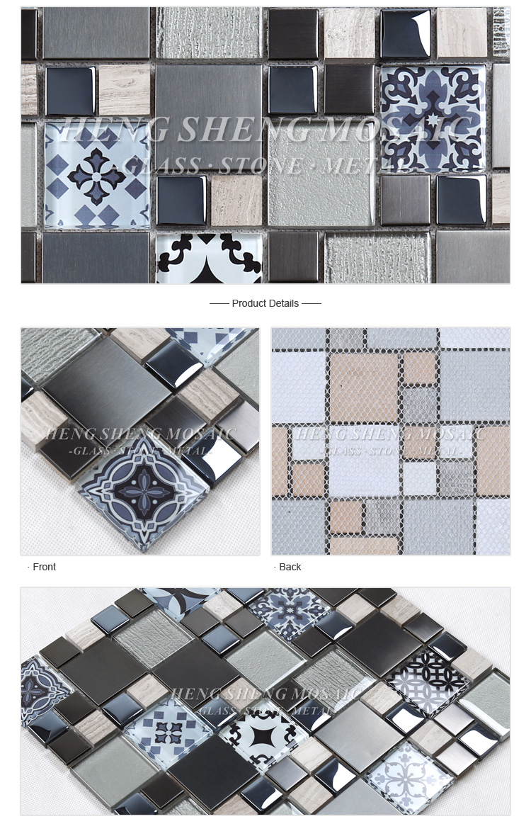 NEW LUXURY BLACK VOLCANIC GLASS /& BRUSHED STEEL SILVER SQUARE MOSAIC TILES 8MM