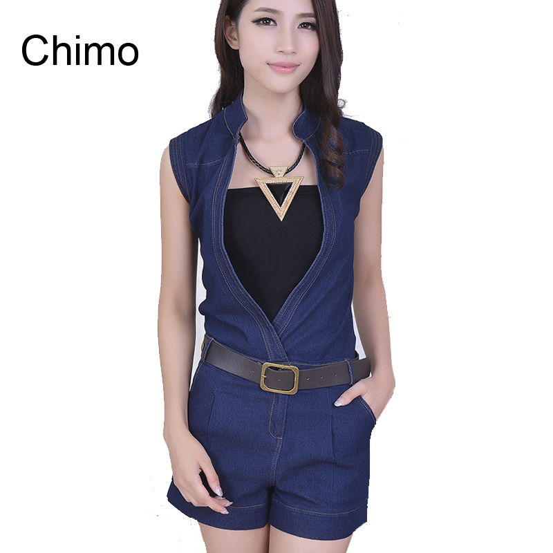 56ca2ae5554 2016 Summer New Fashion V-Neck Rompers Womens Jumpsuit Denim Overalls Women  Jumpsuits Fashion Design Jeans 6662