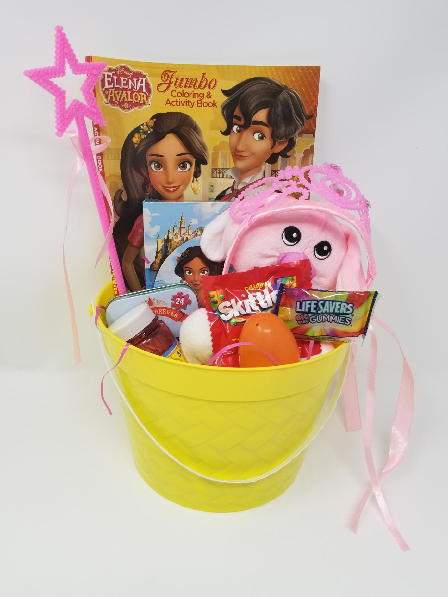 Happy Girls Figure Easter Basket Kids Toddlers Gift Children Pre Made Eggs Goodies Candy Toy Puzzle and Activity Book