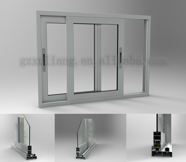 Drawing Glass Window : Aluminum frame tempered glass sliding windows with d