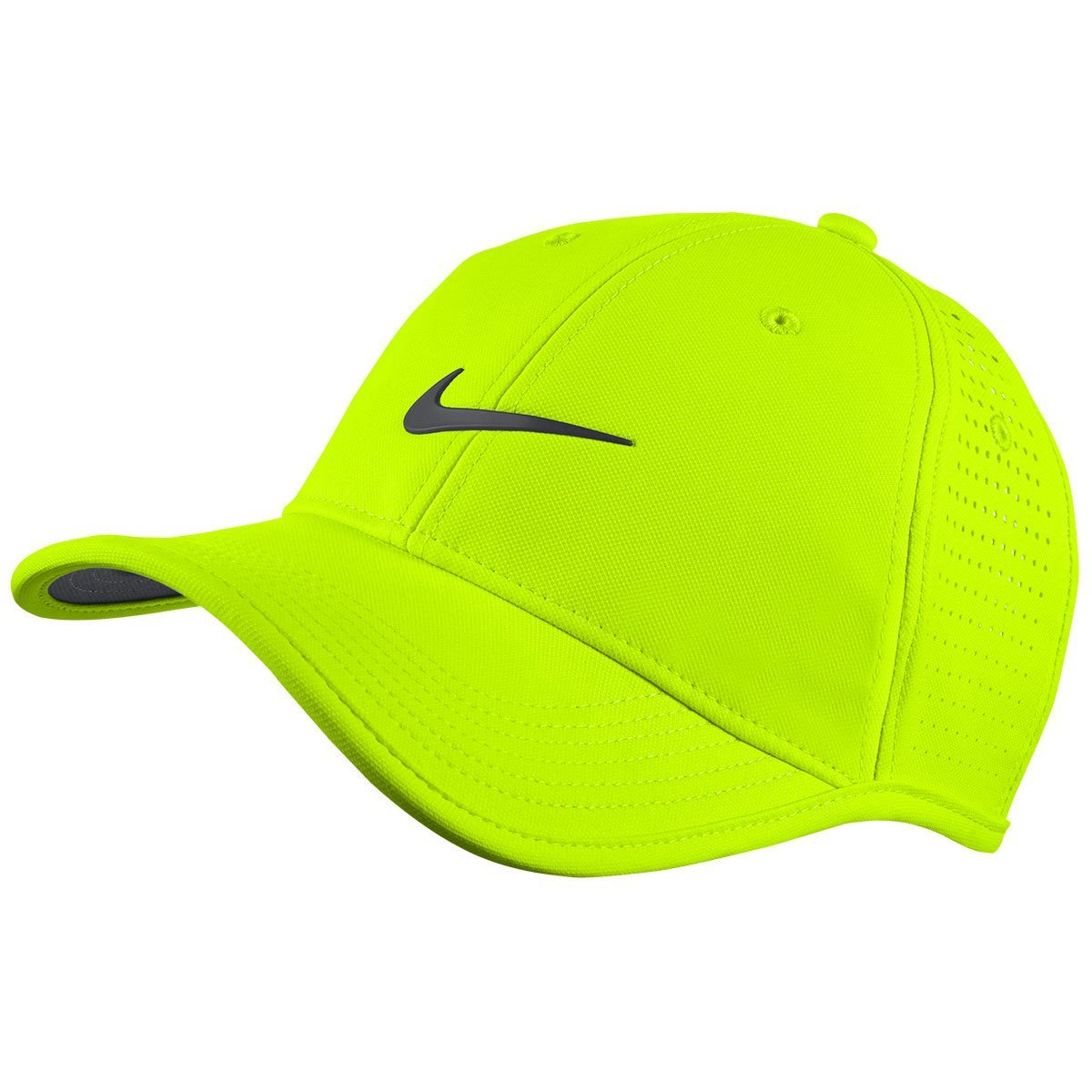 c02fc2ce5b2 Nike Golf 2016 Dri-Fit Ultralight Tour Perforated Adjustable Mens Golf Cap  Volt White