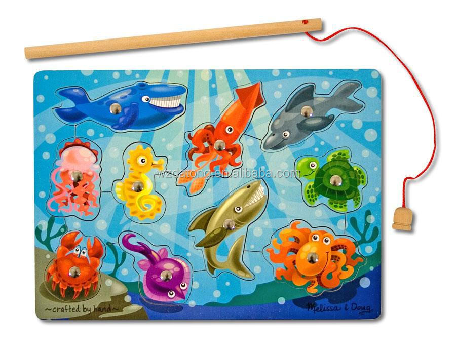 kids toy puzzle fridge magnet/Ocean magnet fishing toys for child
