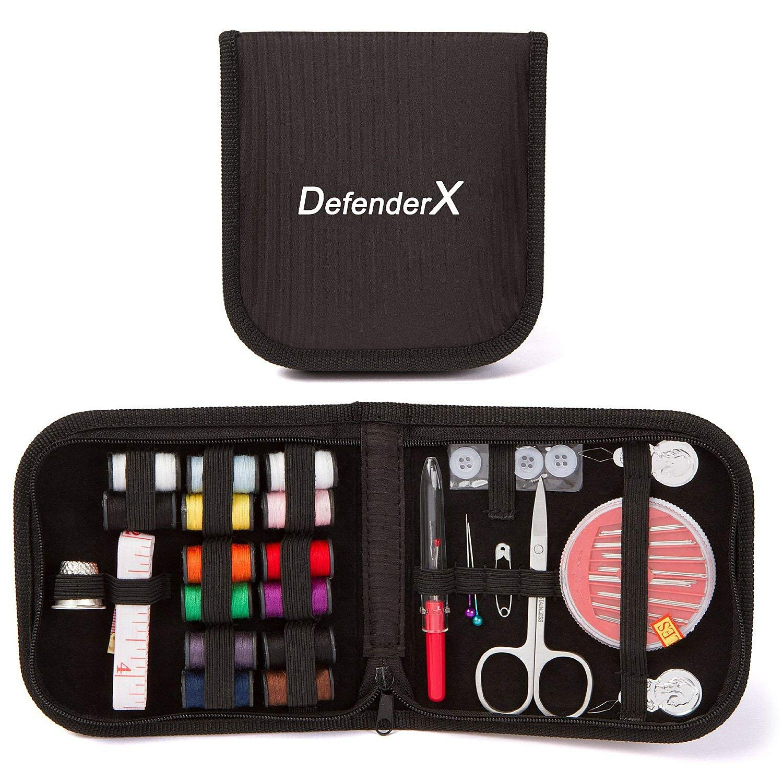 Mini Sewing Kit -DefenderX Sewing Treasure Box for Home, Travel Emergency Premium Sewing Supplies Great Gift Black