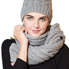 Hot selling Winter gray color jacquard warm knitted scarf