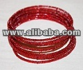 RED MAASAI BEADED COIL BRACELETS - KENYA