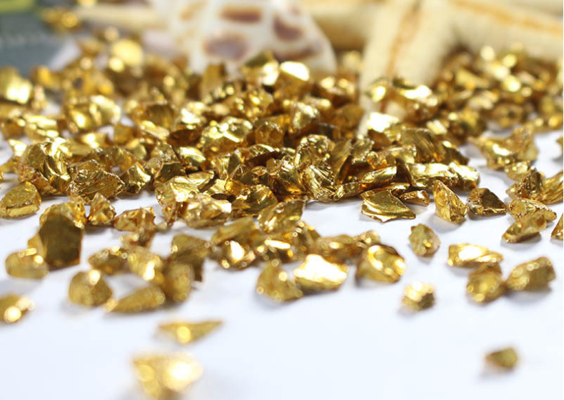 China Decorative Terrazzo Flooring Gold Coated Glass Chips