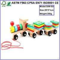 Kids Toys Train Educational Pull Cart Wooden Block Train