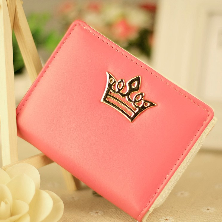 New product <strong>fashionable</strong> cute and elegant Korean crown girl wallet small PU leather clutch purse