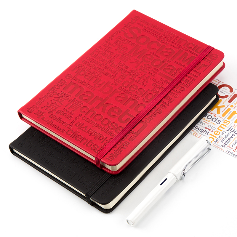 Custom High Quality Leather Hard Cover Notebook With Elastic Band a5 pu organizer planner Embossing logo