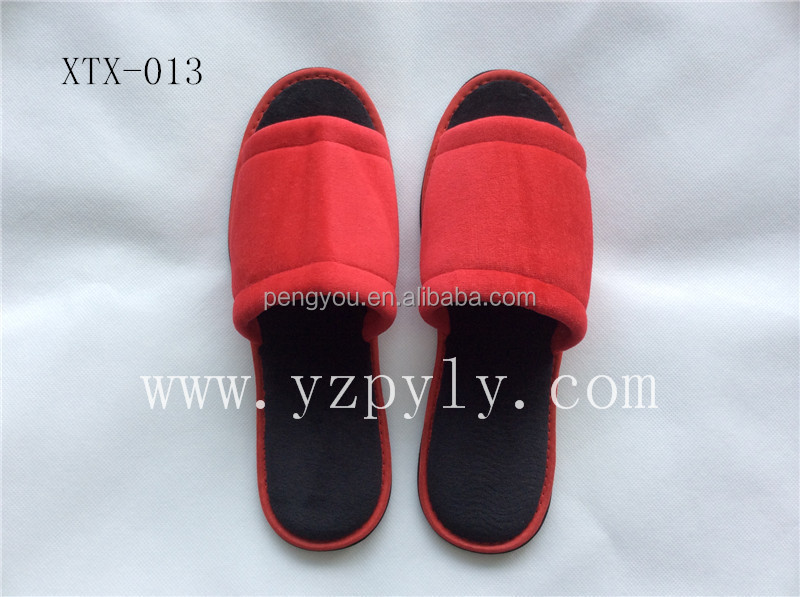 high quality velour open toe wholesale household bedroom slippers