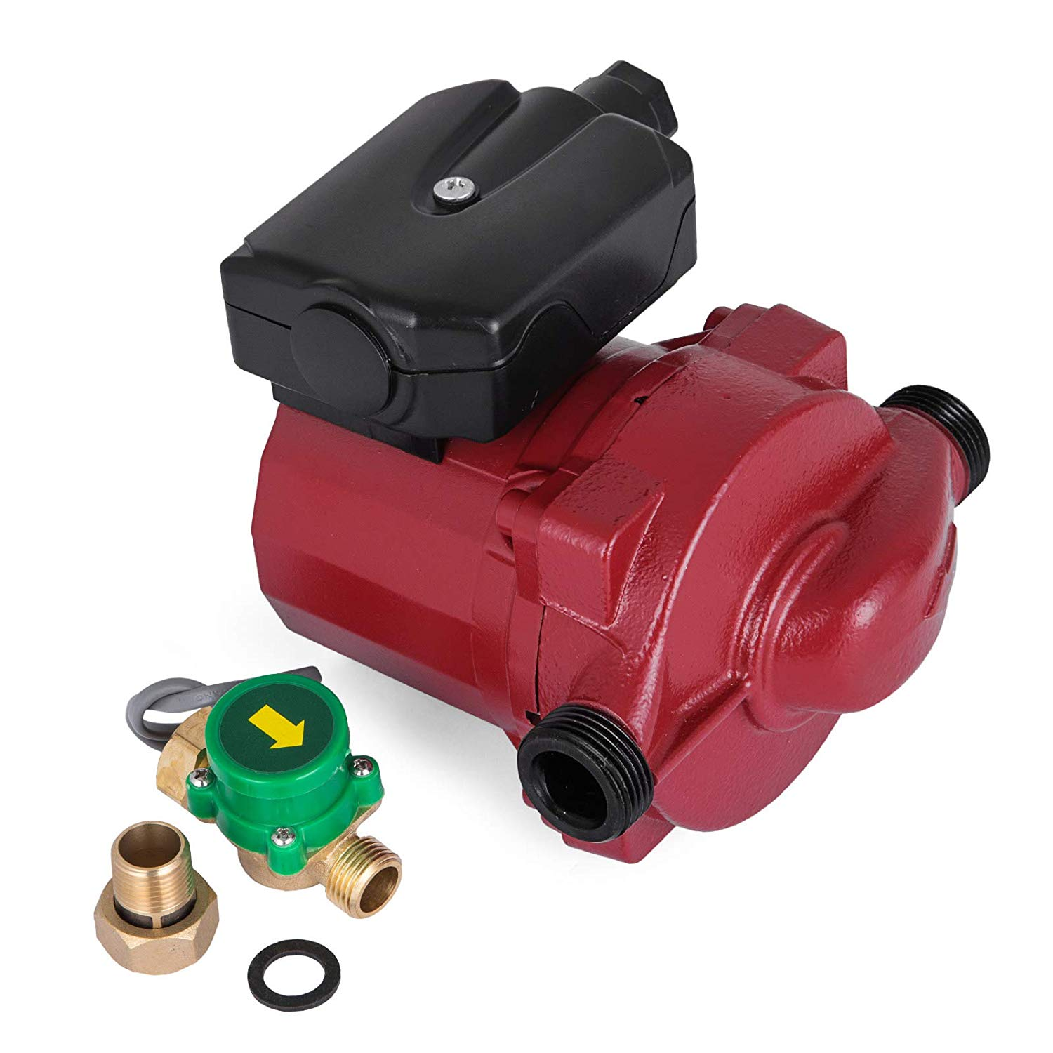 Happibuy 3/4 inch Hot Water Circulation Pump LPS20-12 Hot Water Circulating Pump Red Water Circulation Pump for Solar Heater Systems with US Plug and Flow Switch