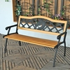 waterproof soild wood outdoor leisure black good quality metal park bench