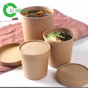 Chinese suppliers various sizes kraft paper soup cup with paper cup lid  cover