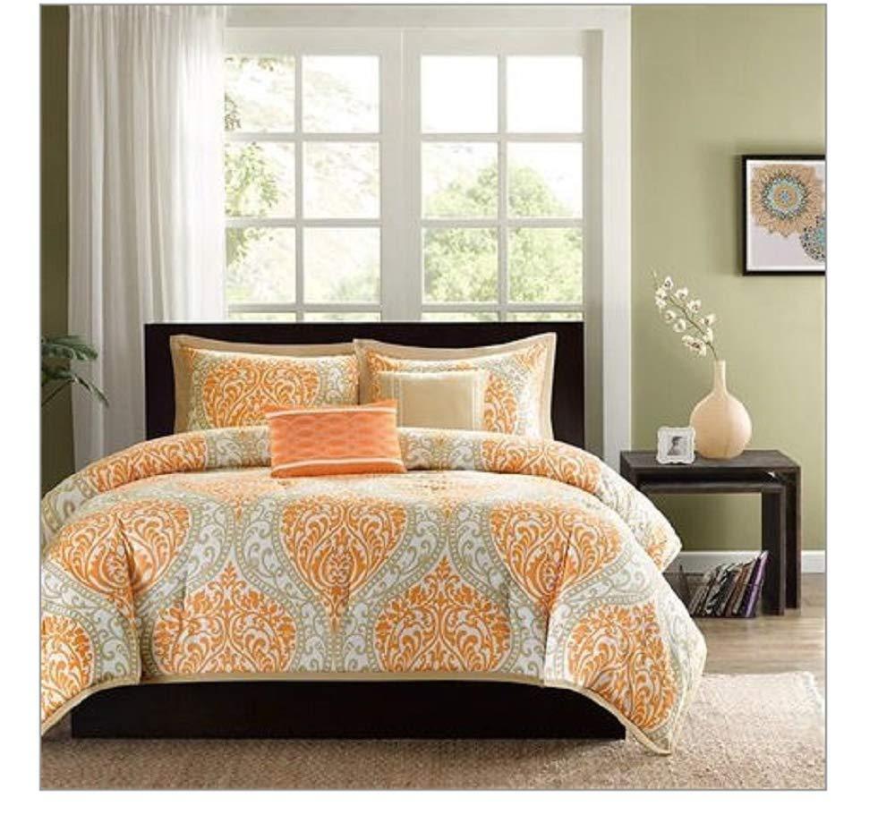CHOOSEandBUY Twin Size 4-Piece Orange White Damask Print Comforter Set Machine Washable