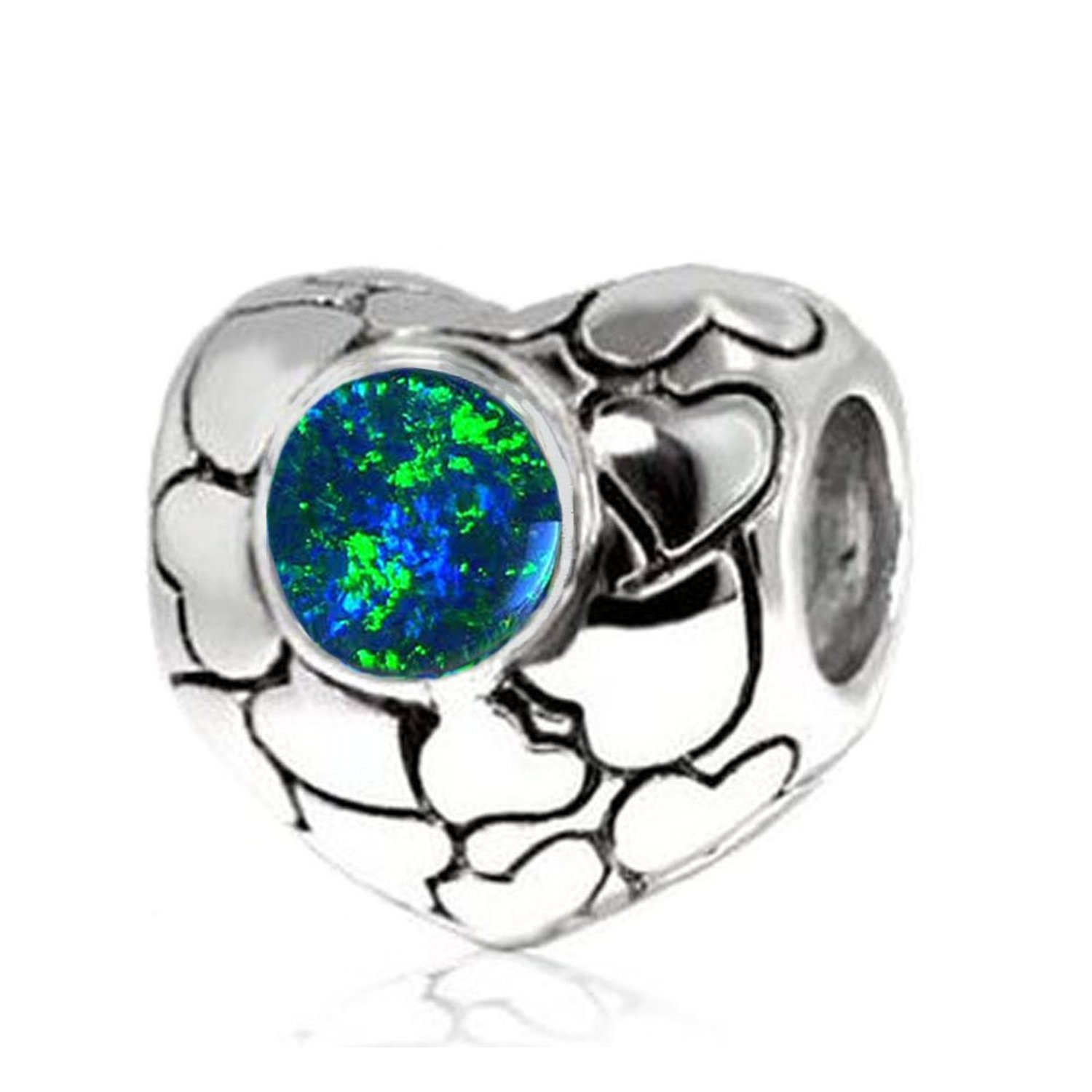 e13b6d118 Get Quotations · Jovana Sterling Silver Love Hearts Bead Charm with Lab  Blue Opal, Fits Pandora Bracelet