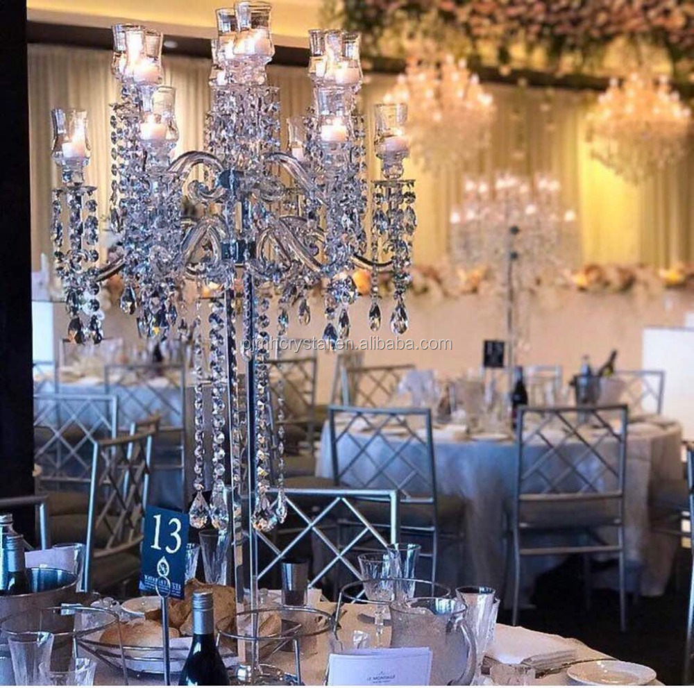 MH-ZT130 wholesale 13 arm crystal candelabra with chandelier ornament