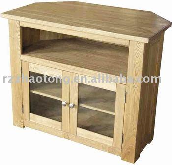 Oak Corner TV Stand Wood Furniture