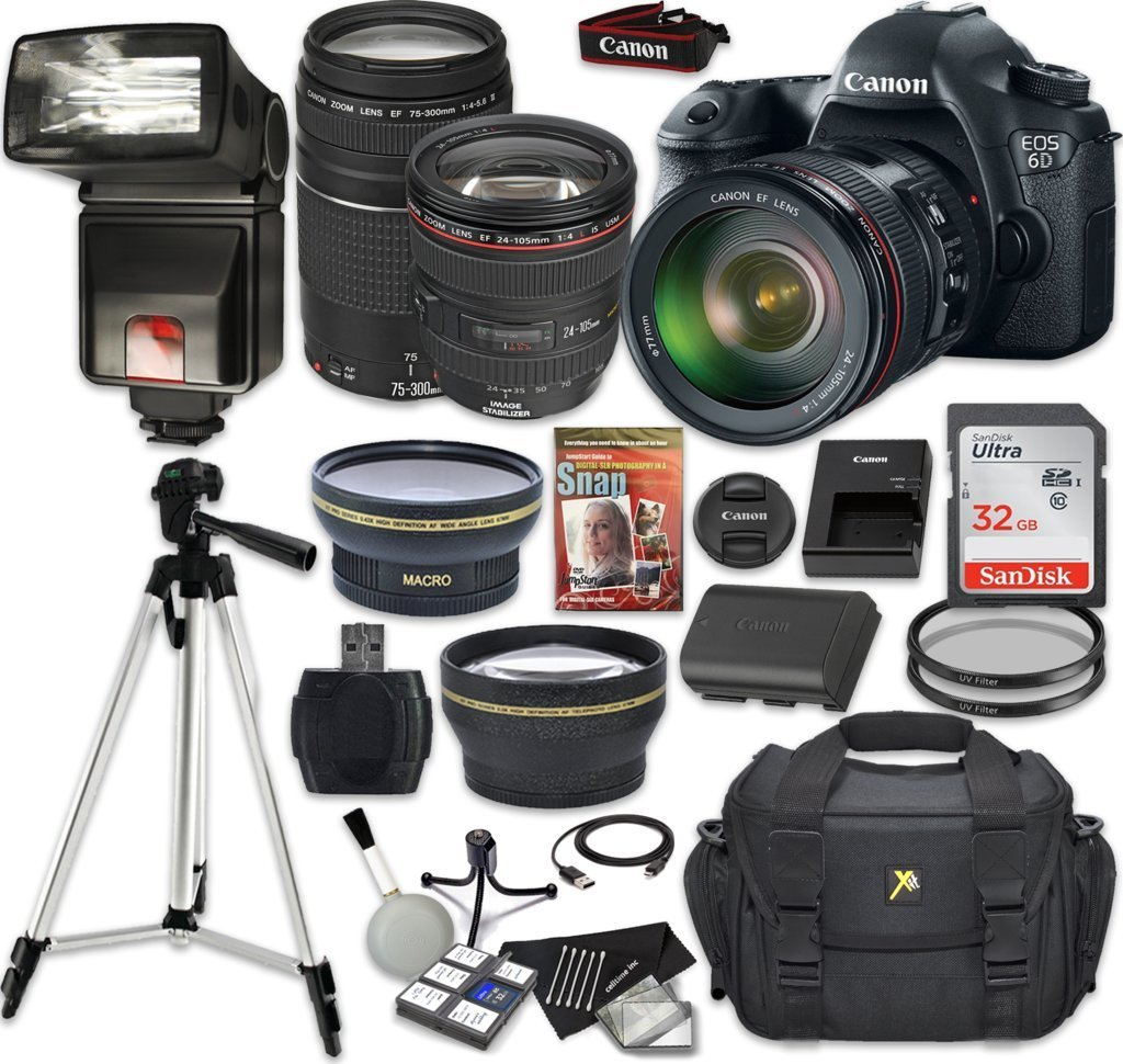 Canon EOS 6D 20.2 MP Full-Frame CMOS Digital SLR Camera Bundle + EF 24-105mm f/4 L IS USM Lens + EF 75-300mm f/4-5.6 III + SanDisk 32GB + 9 PC Accessory Kit - International Version (No Warranty)