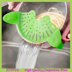 Update Clip-on Silicone Strainer for Draining Food while Cooking Snap Pan Strainer
